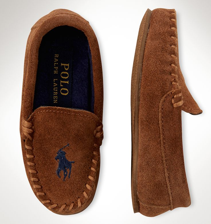Polo Ralph Lauren for Boys: This soft suede moccasin features the signature embroidered Big Pony.