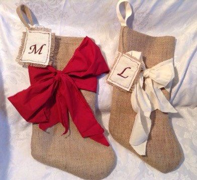 Chic Burlap Christmas stocking with Bow  - pinned by pin4etsy.com