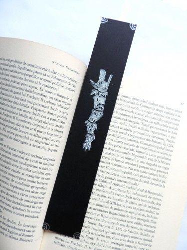 Linocut bookmark draco