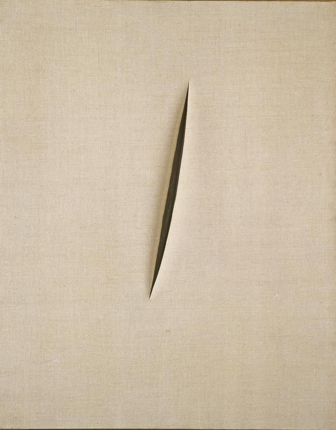 "lucio fontana's spatial concept ""waiting"" (1960) / ""(...) he began developing his idea of 'spatialism' (...) as machine technology was speeding up everything, artists should create similar energy and dynamism. (...) he began to cut his canvases to integrate real rather that imagined space and depth."" (hodge, 2012)"
