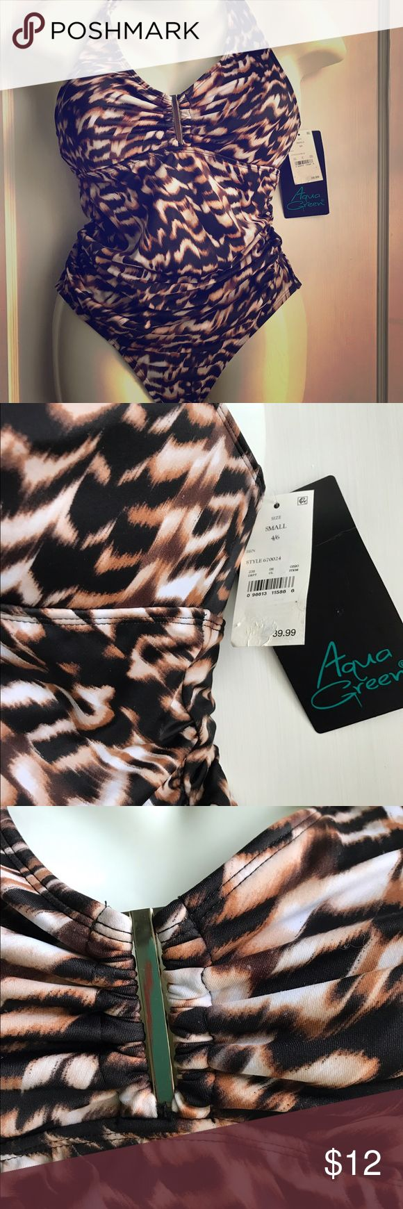 NWT Animal print one-piece swimsuit New with original tags animal print swimsuit.  Has rouching on sides for a flattering middle.  Ties at neck, several sizes available. Aqua Green Swim One Pieces