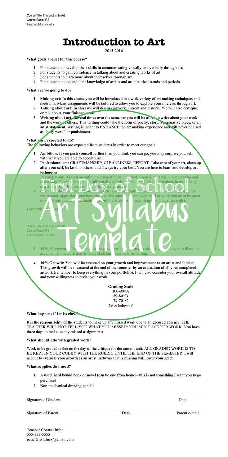 I Have Used This Art Syllabus Template As The Base For All Of My Art Classes Excluding Ap Art It S Simple Art Syllabus Syllabus Template Visual Art Teacher