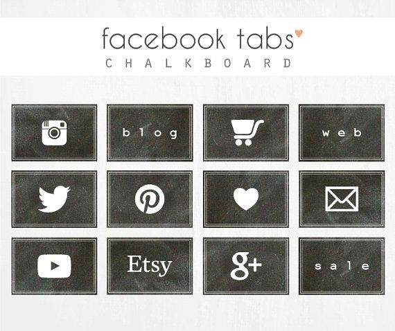 facebook tabs CHALKBOARD by luciabarabas on Etsy