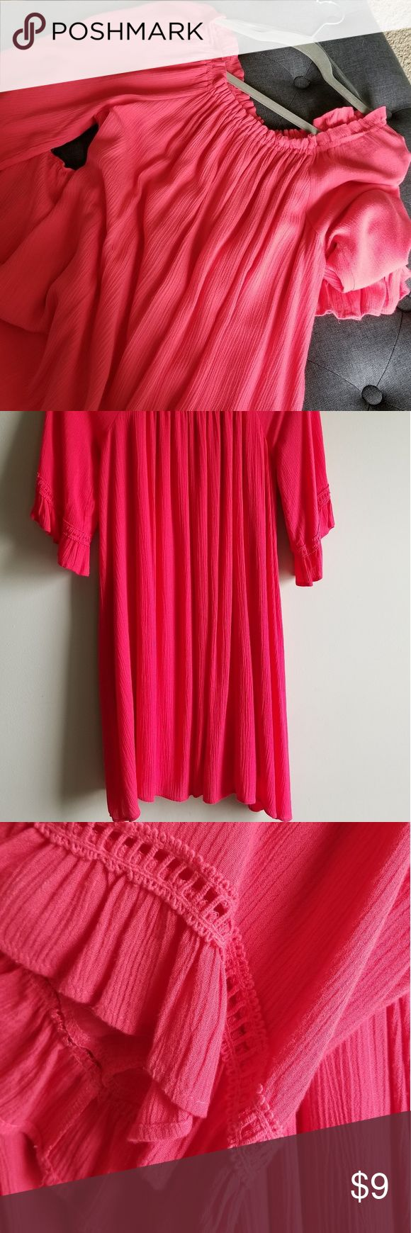 Fuchsia Bohemian Style Dress NWOT off shoulder Lg Gorgeous lined Boho style fun dress. Size large but comfortably fits an XL or 14/16 Bright pink with…