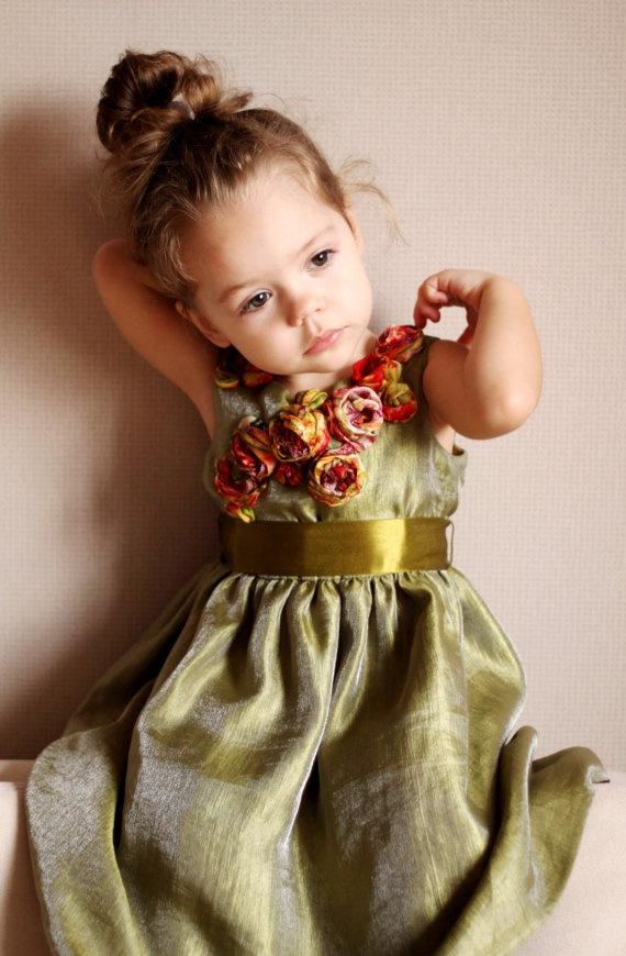 Girls summer dress only 1 dress left green khaki by maliposha, $85.00