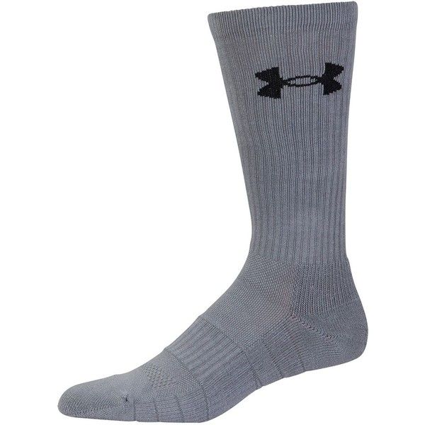 Under Armour Elevated Performance Crew Socks ($20) ❤ liked on Polyvore featuring men's fashion, men's clothing, men's socks, grey, mens grey crew socks, mens grey socks, mens seamless socks, mens gray crew socks and mens gray socks