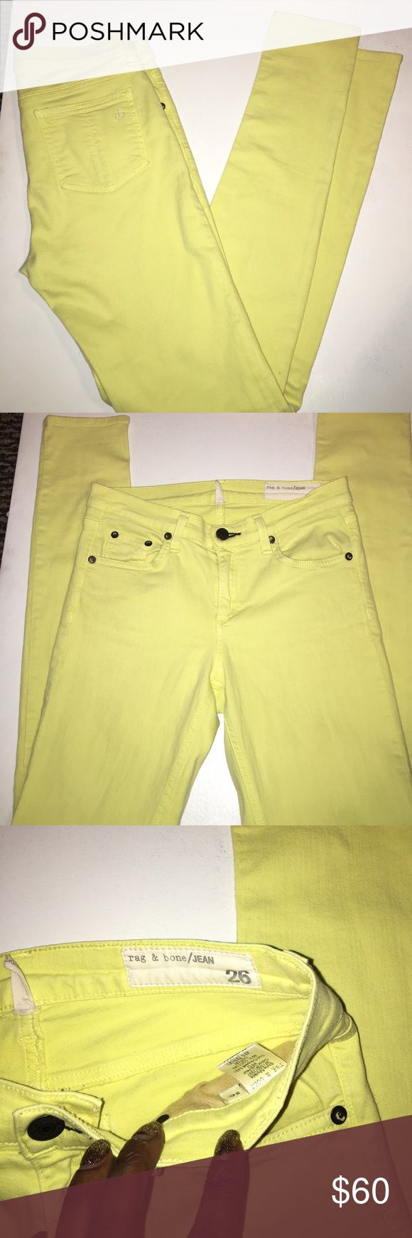 Rag and Bone yellow  skinny jean. EUC Awesome yellow skinny jeans goes with everything. Great condition rag & bone Jeans Skinny