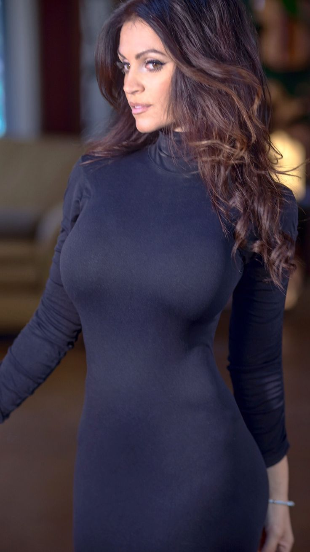 Big boobs in tight black dress — img 15