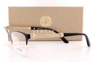 Marca Nueva Versace marcos de anteojos 1228 1291 Negro/Oro 100% auténtico de mujer 53