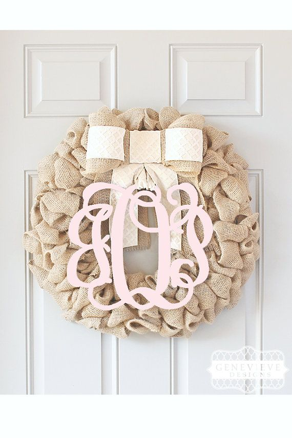 Youve discovered the best door wreaths on Etsy! This elegant monogram wreath is an original design of Genevieve Designs. This personalized