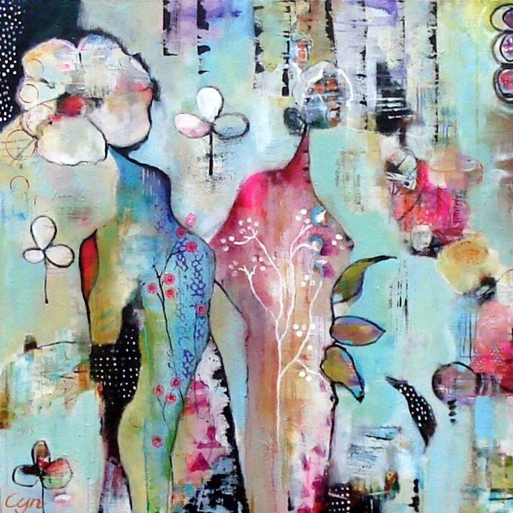 Bright heart. Acryl 100x100cm.  Cynthia Jagtman