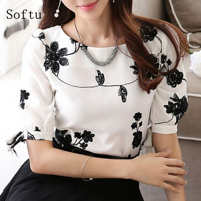 Price-8$    Softu Fashion Women Shirt Blouse Summer Tops Chiffon Casual Shirt O Neck Half Sleeve Floral Printing Female Blusas Clothing