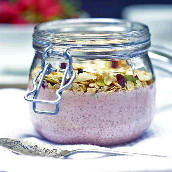 Creamy, sweet and filled with goodness these pots add a little something special to the breakfast table. Strawberry and basil combined. Yum.