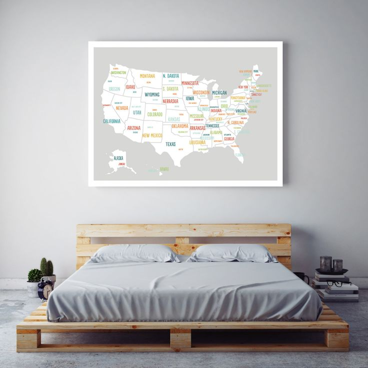 Usa Map Poster Grey Usa Map United States Map Travel Map Wall
