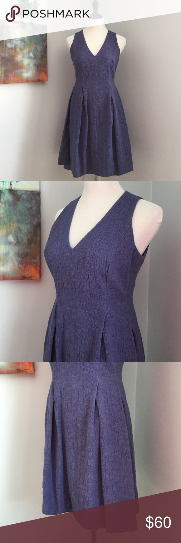 Ann Taylor LOFT Dress Pretty, dark periwinkle textured Ann Taylor LOFT dress. Fully lined, worn once. Half zip back closure. Perfect for work or out! LOFT Dresses