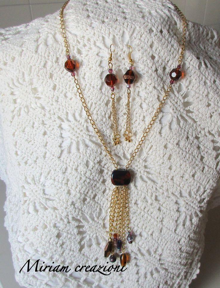 Parure: collna e orecchini con catena dorata, by vetrina miriam chiocciola, 18,00 € su misshobby.com