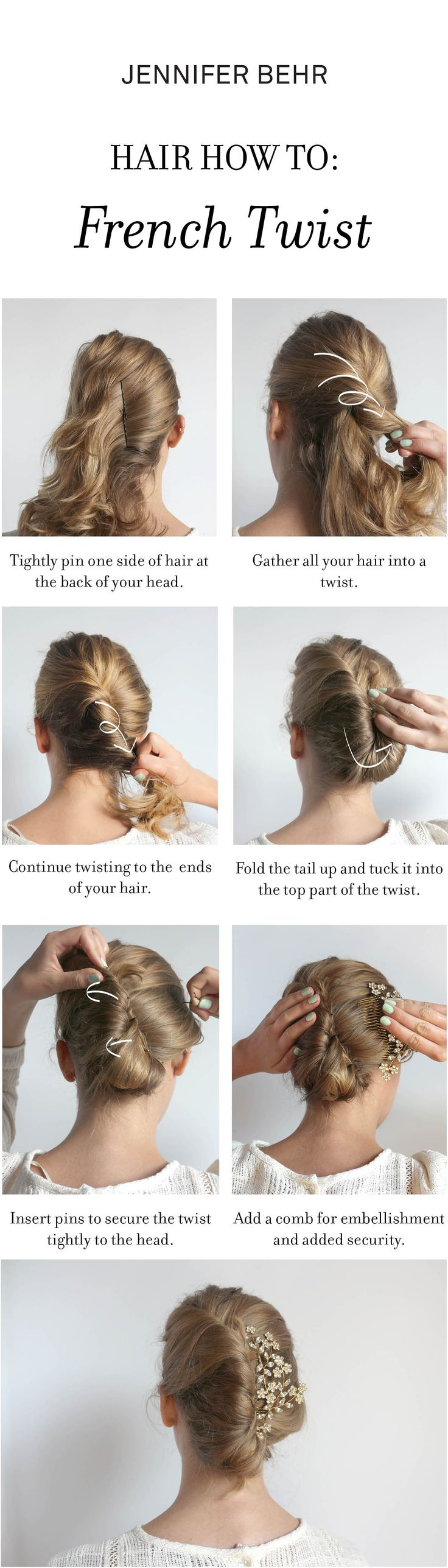 How to make a French Twist Up-do with the Jennifer Behr Jasmine Comb. Just twist and pin long hair and add a comb for embellisment!
