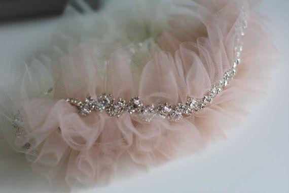 One Blush Pink Wedding Garter / Nude Toss Garter / by AlexEmotions