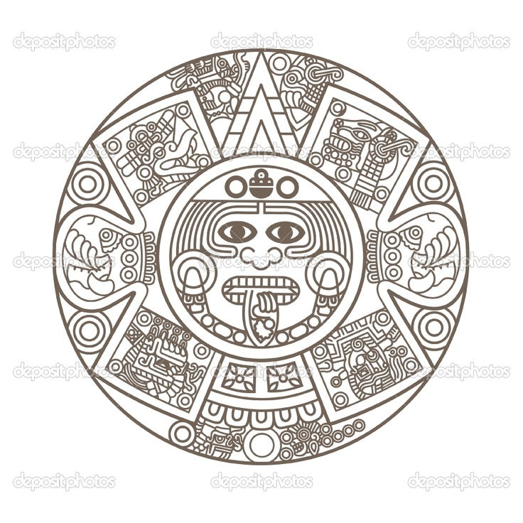 God Calendar Design : Aztec calendar coloring page tattoo books worth reading