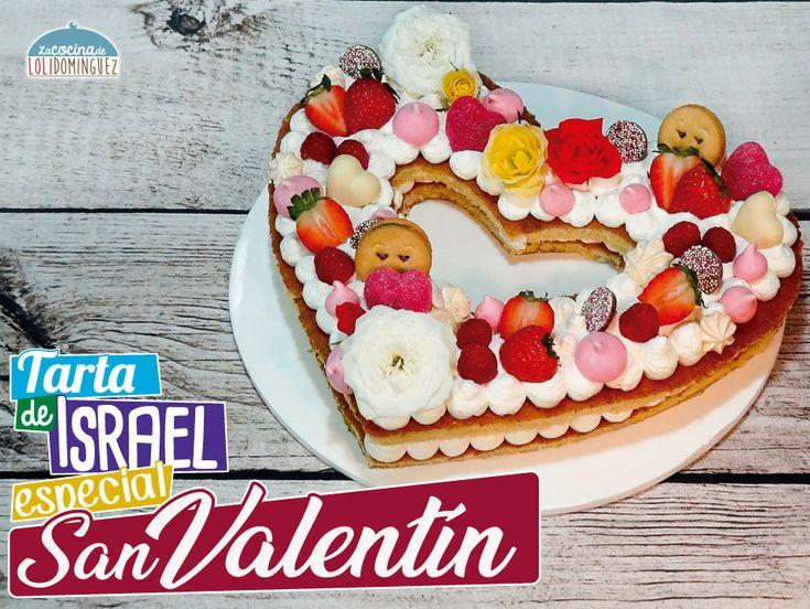 Tarta de San Valentín - Tarta de Israel tendencia 2018. Es una de esas tartas que cuando la ves por primera vez te enamoran, por eso he decidido este año que sea la tarta para San Valentín que he decidido hacer a mi manera, porque la original es con bases de galleta o de pasta sable.