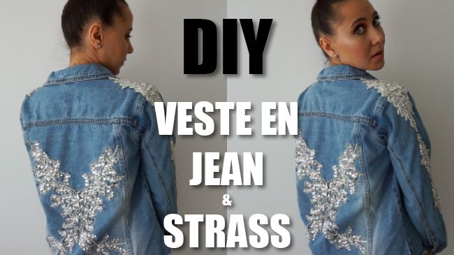 DIY veste en jean avec strass