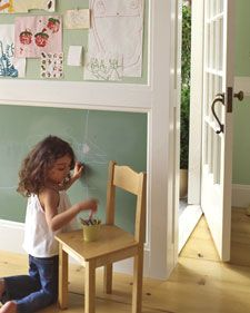 imagine custom-colored chalk board paint. now imagine it on the lower half of all your children's bedroom and/or playroom walls. now let them imagine.