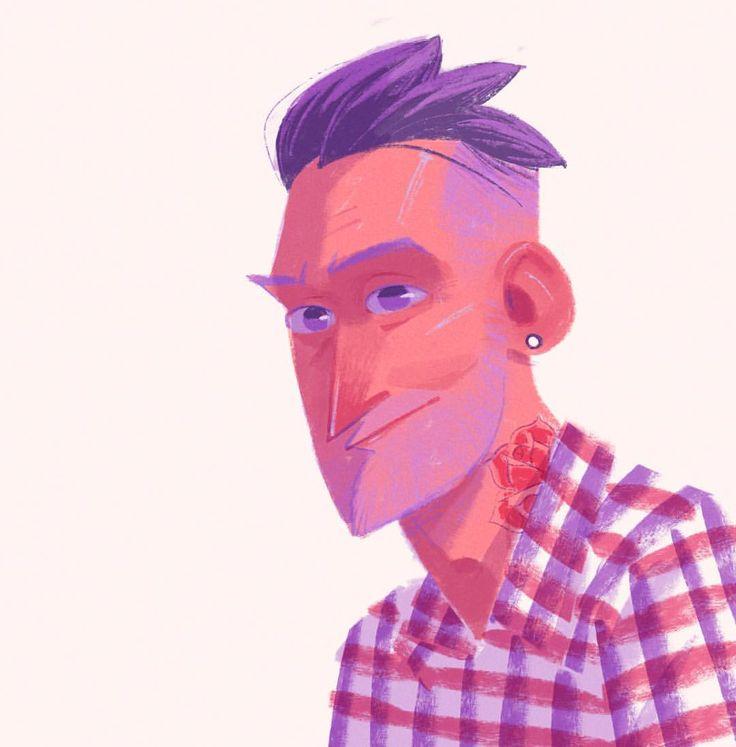 Random handsome guy #doodle #sketch #sketchbook #procreateapp #ipadart #illustration #painting #characterdesign (at Starbucks)