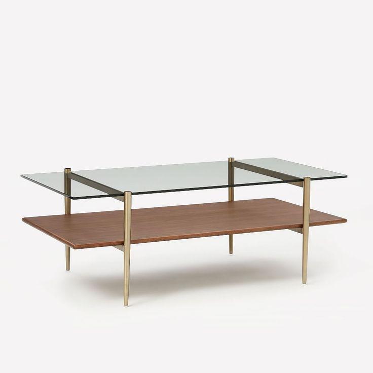 Midcentury art display coffee table walnut display
