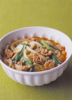 ひき肉とキムチの韓国風うどん