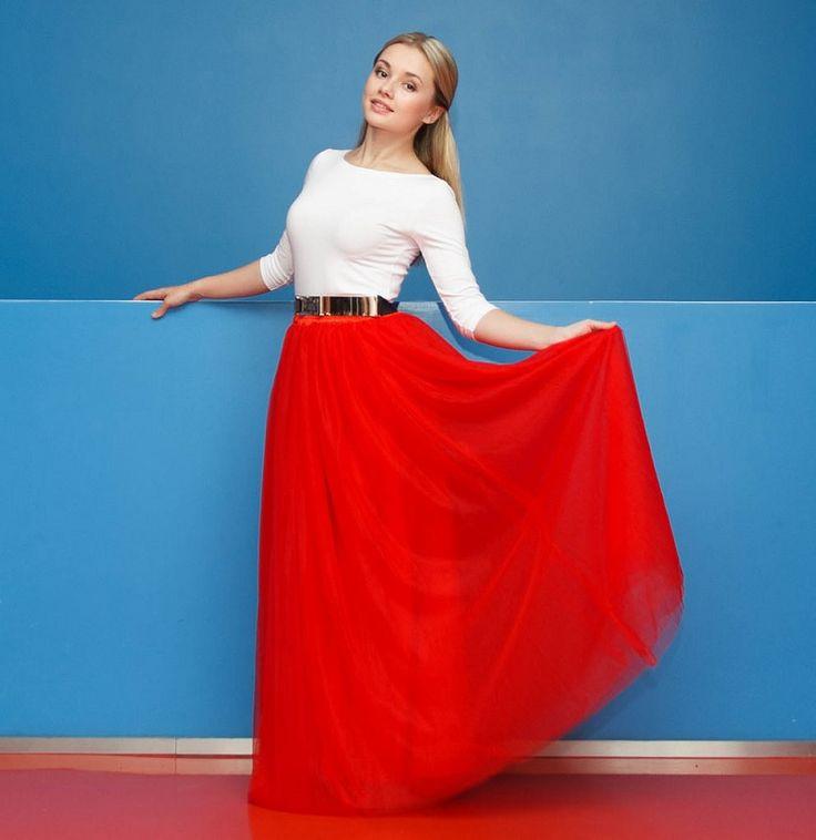 Chicwish maxi TUTU sukně Amore, červená - PoshMe.cz