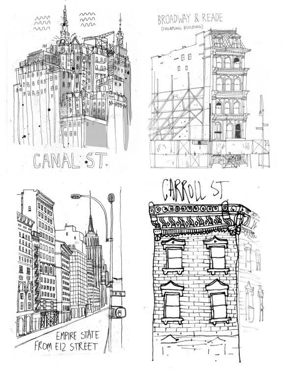 Imperfect sketch-like lines are the most beautiful and raw art there is. Everything after all starts with a sketch or an outline. James Gulliver Hancock's art has light, texture, perspective all within the simplicity of grey hues. Check out All the Buildings in New York, Hancock style.