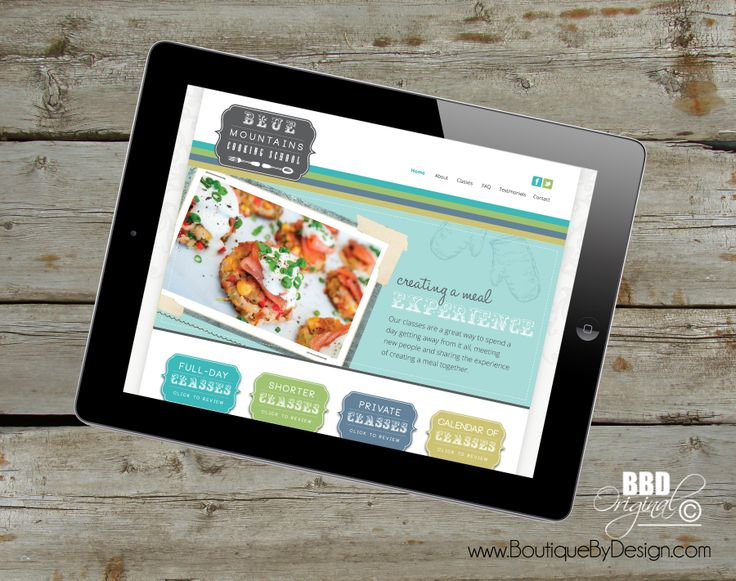 Responsive, mobile friendly website design for Blue Mountains Cooking School #boutiquebydesign boutiquebydesign.com