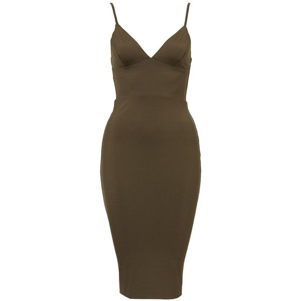 Ila Dress ❤ liked on Polyvore featuring dresses, form fitting dresses, figure hugging dress, brown dress, below knee dresses and below the knee dresses