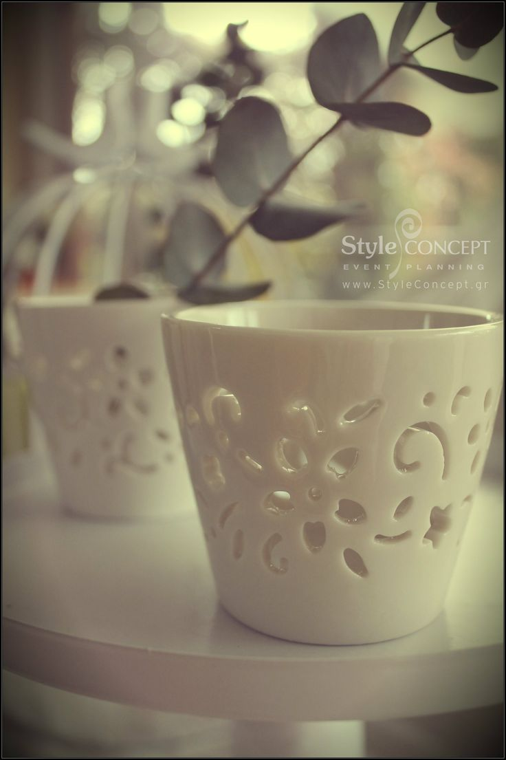 Vintage chic porcelain wedding favors. Elegant & useful keepsake for your guests as they can be used as candle holders!