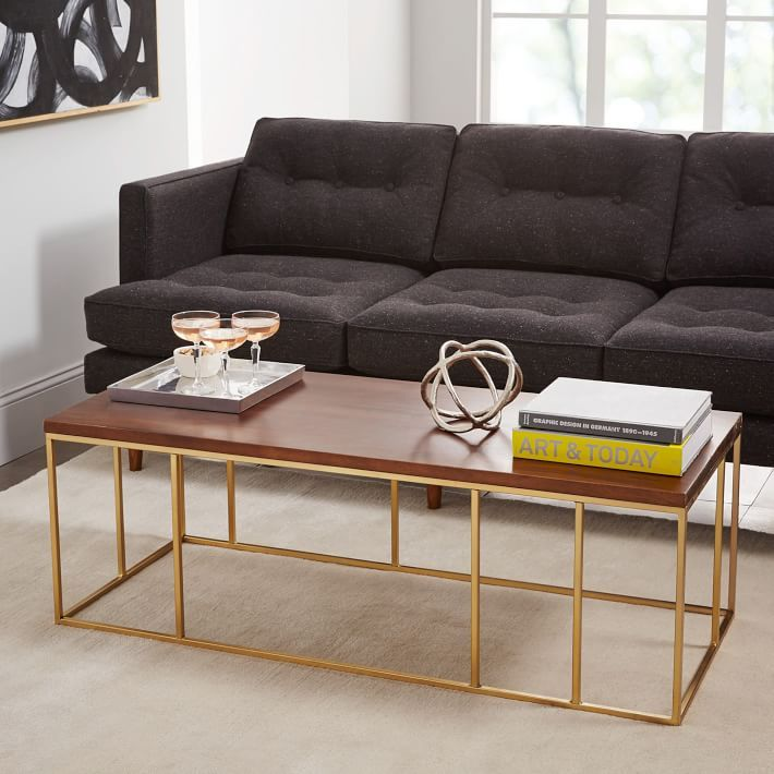Brass Display Coffee Table: A Solid Sheesham Wood Surface Atop A Brass Metal Base