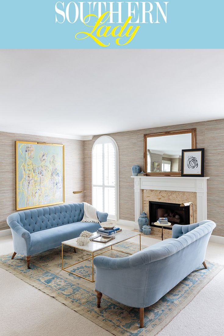Lowcountry Mix - Southern Lady Magazine  Blue sofas living room
