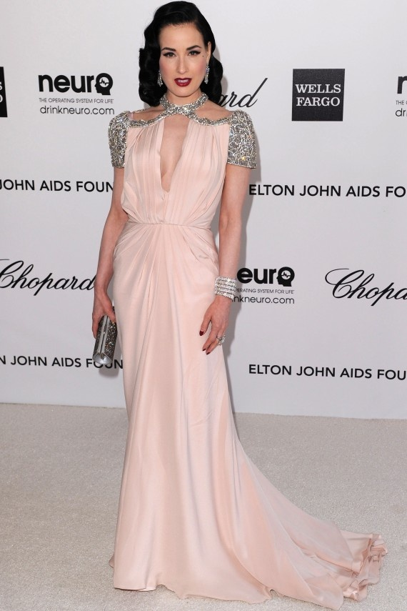 Dita Von Teese at Elton John AIDS Foundation Party