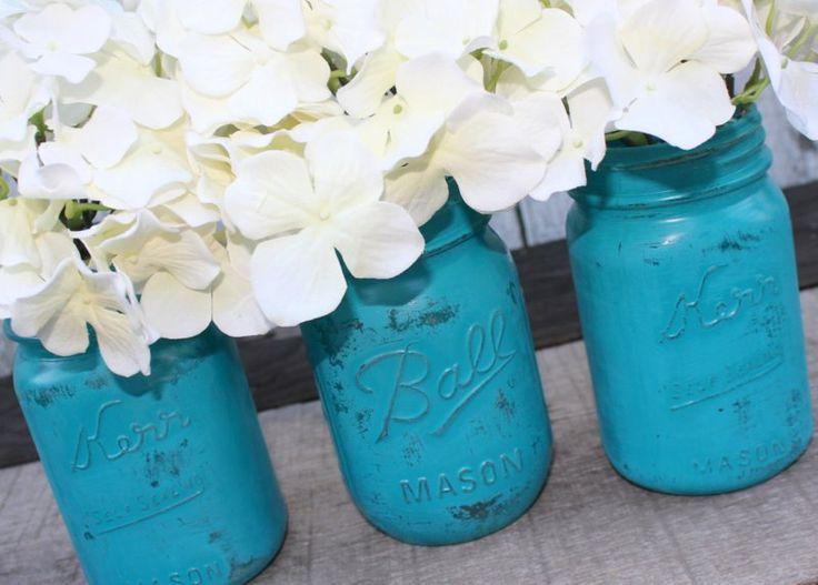 teal wedding decorations - Google Search, I did this to my mason jars and they came out cute, I prefer using white acrylic paint.