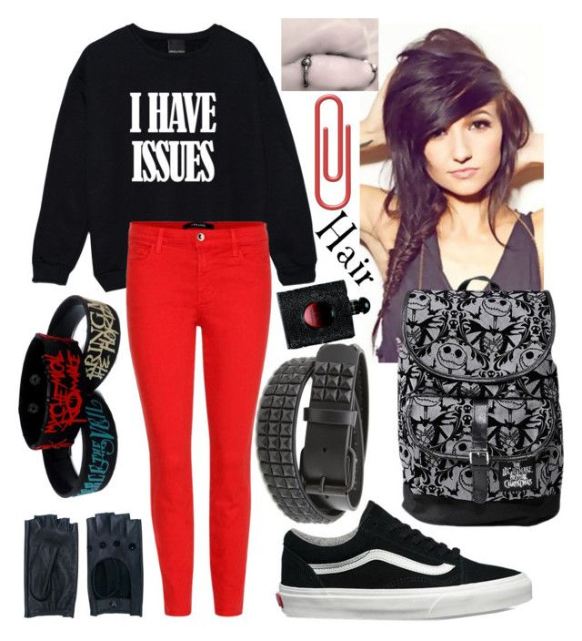 Emo Junior Outfit #8 by madame-taylor on Polyvore featuring polyvore, fashion, style, J Brand, Vans, Disney, Zanellato, Yves Saint Laurent, clothing, school, Dark, emo and Junior