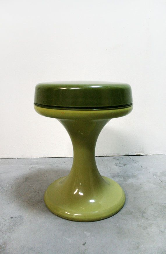 Vintage Emsa West Germany Mid Century Modern Retro Green Khaki Plastic Tulip Taboret Stool - European Loft German Eames Era Furniture 70s