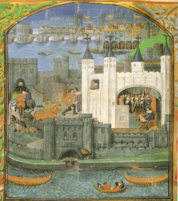 This view of the Tower of London from a 15th-century manuscript depicts the imprisonment of Charles, Duke of Orléans, in the Tower of London. London Bridge and the Thames are also visible.
