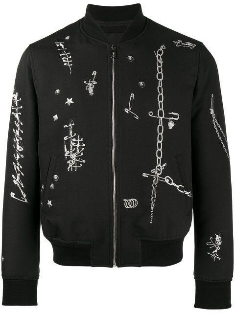 Alexander McQueen safety pin print bomber jacket