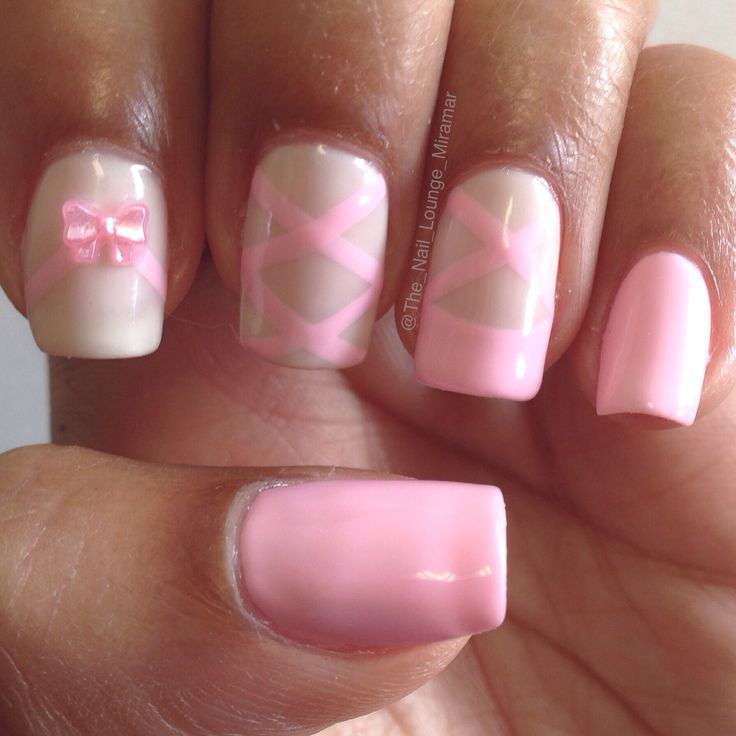 Ballerina Ballet slippers nail art design with 3d bow