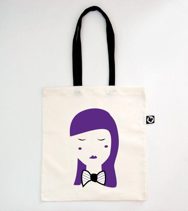 Viola Tote Bag  #totebags #screen #printed #handmade #serigrafia #diseño #girl #chica #face #purple #viola #shopping #shopper #goodie #bag