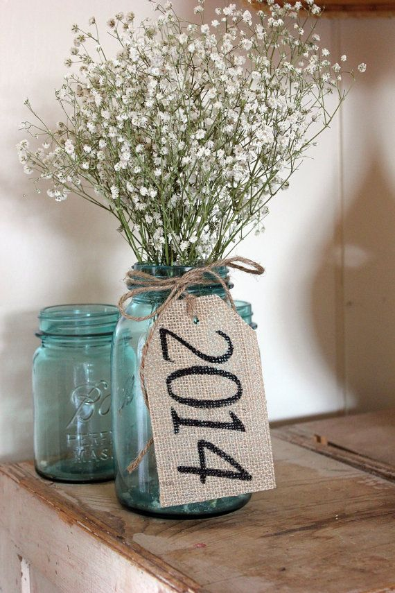 class of 2014 . rustic country burlap table tags . by montanasnow