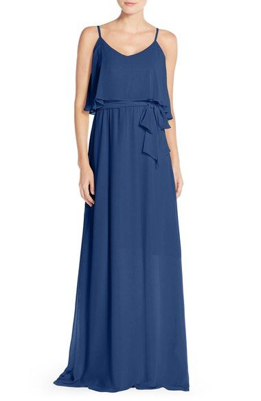 Ceremony by Joanna August 'Dani' Popover Bodice Chiffon Maxi Dress available at #Nordstrom  Color: Tiny Dancer