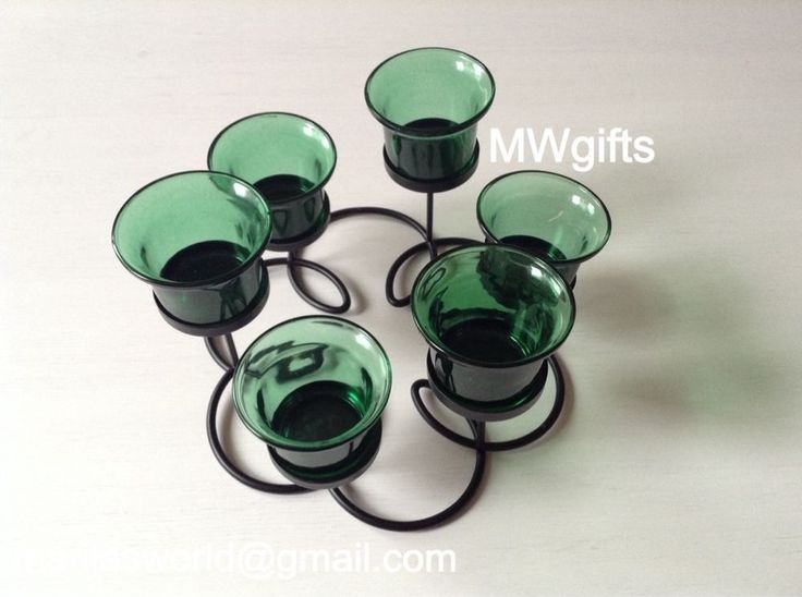 Flower Shaped Black Candle Holder with Six Green Glass Tea Light Holders