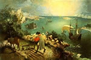 Landscape with the Fall of Icarus 1567-68. Bruegel was interested in landscapes, but he added more people to his works as time went on. In his paintings the main story is not always the most prominent image. Here the viewer can spot Icaru's leg in the sea after looking closely. The roman poet Ovid in his book metamorphoses stated that a plowman, a sheperd and a fisherman were witnesses but neither are aware of Icarus' plight to them as others at time the meaning was that ambition is futile.