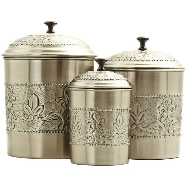 Old Dutch International 3-pc. Antique Embossed Canister Set ($120) ❤ liked on Polyvore featuring home, kitchen & dining, food storage containers and old dutch canister set
