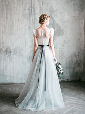 NEVA // Romantic grey wedding dress, lace and tulle a-line wedding gown, corset bodice, long dress with delicate chiffon flowers, milamira